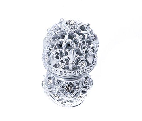 Carpe Diem Hardware 7621-24C Versailles Medium Round Knob Fleur De Lys Open Basket Decorative Spherical Foot with Swarovski Crystals, Platinum ()