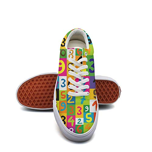 KROT8UTF Unisex Flat Shoes Colorful Math Numbers Seamless Fashion Jogging Breathable Shoes for Woman Men's