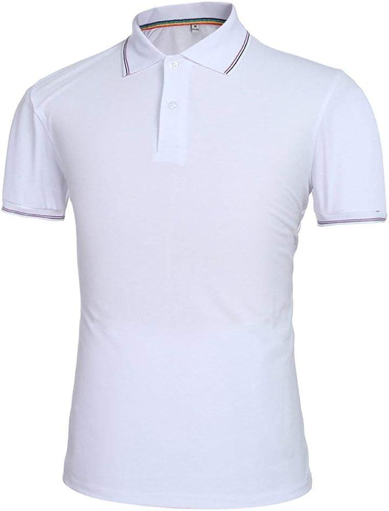 Camisa De Polo para Hombre De Corta De Manga Verano Esencial Camiseta Slim Fit Polo De Color Sólido Solapa Casual Sport Polo Cuello Camisas Tops (Color : Blanco, Size : S): Amazon.es: