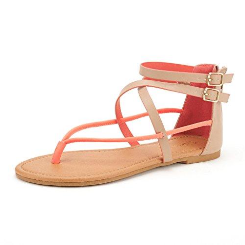 DREAM PAIRS CROX New Women Open Toe Fashion Crisscross Valcre Ankle Straps Summer Design Flat Sandals