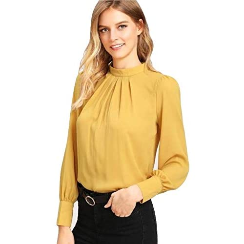 41OMpPr84ML. SS500  - Alfa Fashion Party Solid Puffy Sleeve Self Design Women's Western Casual Top
