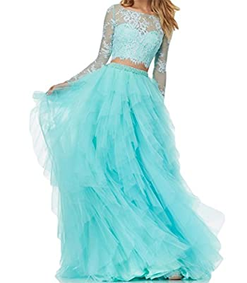 BanZhang Women's Lace Prom Dresses Long Sleeve Homecoming Dresses A Line Tulle B280