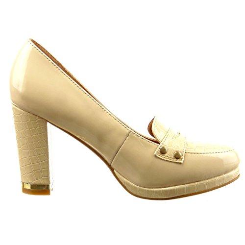 Sopily - Zapatillas de Moda Tacón escarpín Mocasines Tobillo mujer piel de serpiente patentes metálico Talón Tacón ancho alto 9 CM - Beige