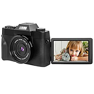 Digital Camera Vlogging Camera for YouTube 16x Digital Zoom 30MP 2.7k Full HD Camera with 180° Rotatable Flip Screen,Flashlight, 2 Batteries(1500MM), Micro Card
