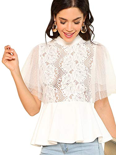 Romwe Women's Lace Mesh Layered Sleeve Floral Elegant Ruffle Peplum Blouse Top White Medium