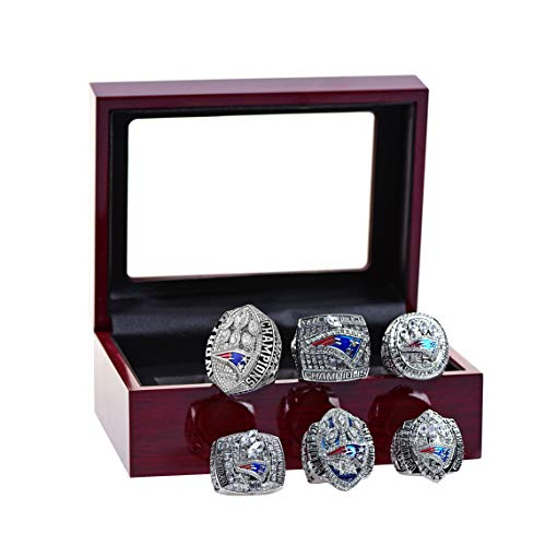 MT-Sports New England Patriots Championship Ring Set Super Bowl Collectible Size 11 with Display Case (Official 6 Years Size 11)