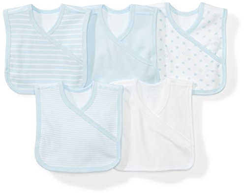 Moon and Back Baby Set of 5 Organic Reversible Bibs, Blue Sky, One ()