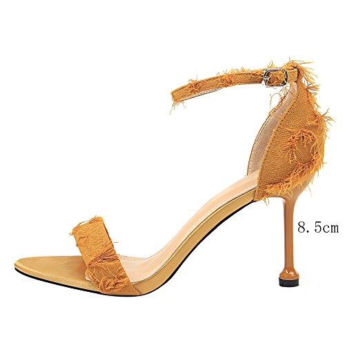 Hembra Amarillo Tacón Sandalias Fino de Cinta Zapatos Tela Alto Tacón wt8n7qz