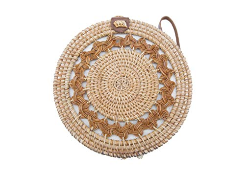 - Boho Designer Rattan Bag, Shoulder Crossbody Genuie Leather Straps Natural Chic, Fancy Straw Bag for womens by VINTAGOUS