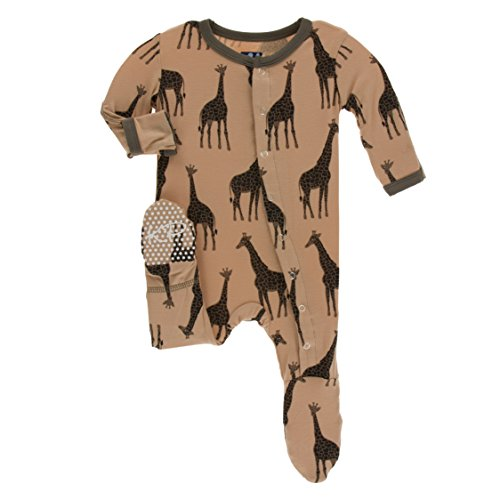 Kickee Pants Little Boys Print Footie with Snaps - Suede Giraffes, 18-24 Months ()
