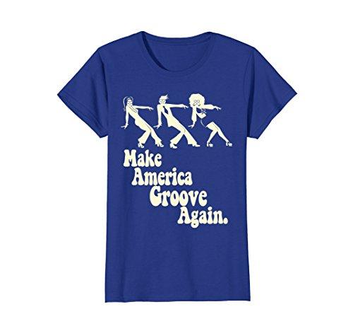 Womens MAGA Make America Groove Again Disco Dancers 1970s T Shirt Large Royal (1970s Disco Shirt)