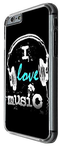 1460 - Cool Fun Trendy i love music headphones rnb dance jazz rave Design iphone 5 5S Coque Fashion Trend Case Coque Protection Cover plastique et métal - Clear