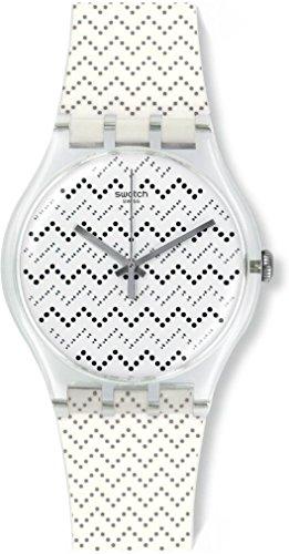 Swatch suok118 Wavey Dots White Silicone Strap Watch