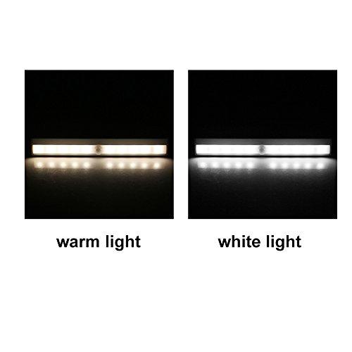 Closet Lights Touch Light,Wireless Motion Sensor Cabinet Lights 10-LED USB Rechargeable Closet Lights LED Under Cabinet Lighting(White) by cyclamen9 (Image #2)