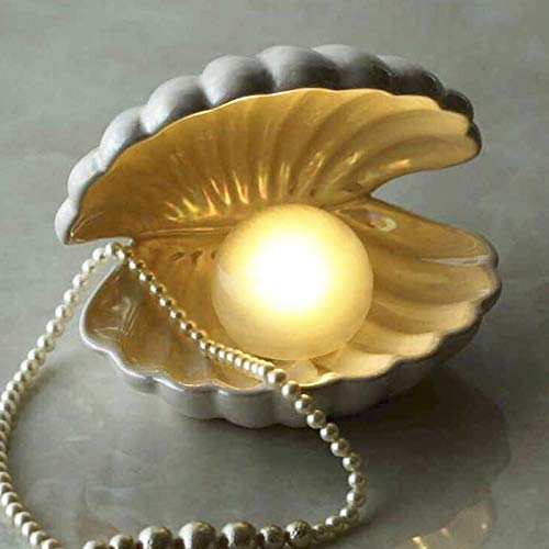 Lemonadeus Shell Pearl Light Mermaid Theme Ceramic Jewelry Rings Tray Holder and Seashell Night Lamp (Ivory)