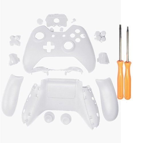 YICHUMY Matte White Controller Housing Shell Full Set Faceplates Buttons for Microsoft Xbox One Controller with 3.5 mm Headset Jack xbox one controller shell kit with 3.5 port