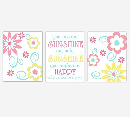 Pink Teal Yellow Coral Flower Dahlia Mums Baby Girl Nursery Toddler Tween Bedroom Home Decor You Are My Sunshine SET OF 3 UNFRAMED PRINTS