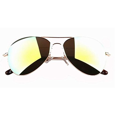SUMOLUX Color Mirror Fashion Gold Frame/Green Lens Aviator Sunglasses