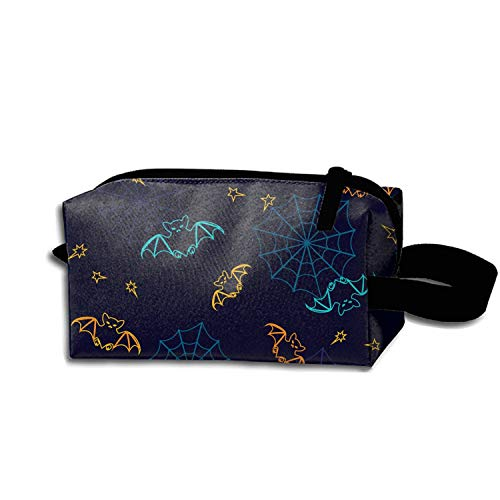 Cosmetic Bag Zipper Storage Bag Portable Ladies Travel Bats And Web Halloween Makeup Bag]()