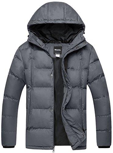 Wantdo Men's Puffer Jacket Warm Heavyweight Quilted Hooded Windbreaker Outdoor Coat