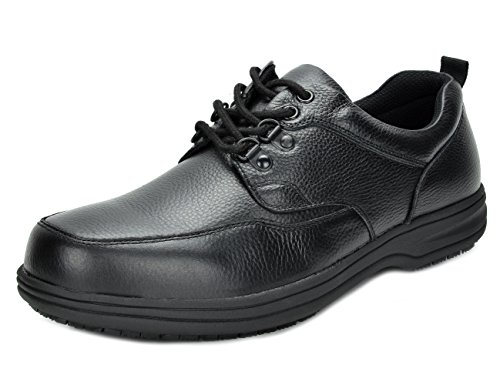 Mens Oxford Work Shoe (DREAM PAIRS Men's UNO-1 Black Genuine Leather Restaurant Oxfords Work Shoes - 9 M US)