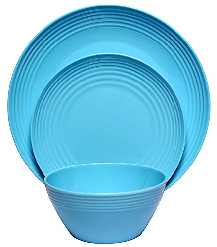 Melange 18-Piece Melamine Dinnerware Set (Solids Collection) | Shatter-Proof and Chip-Resistant Melamine Plates and Bowls | Color: Blue | Dinner Plate, Salad Plate & Soup Bowl (6 Each)