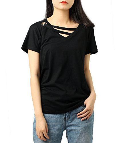 Tops for Women Criss Cross V-Neck Loose Fit Pullover Casual Tshirt(Black,XXL)
