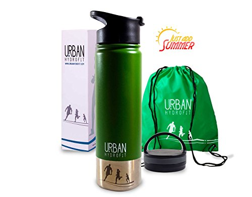 Urban Hydrofit 22 oz Stainless Steel Water Bottle Insulated Travel Mug Keeps Drinks Cold 24 Hours or Hot 18 Hours plus 2 Lids and Sack