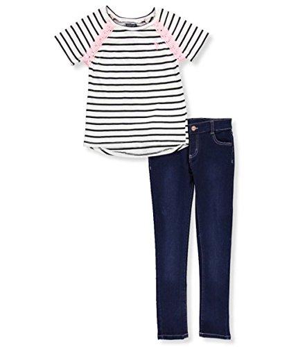Polo Knit Pant Set (U.S. Polo Assn. Big Girls' Fashion Top and Legging Set, Mix Media Knit Sateen Denim Multi, 7)