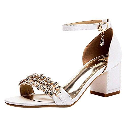Ouvert White Ete Bout Talons Bloc Chaussures Femmes Taoffen wBqxII