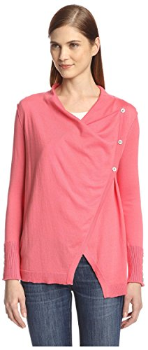 Cullen Women's Asymmetric Button Draped Neck Sweater, Hibiscus, S Cullen Cotton Sweater