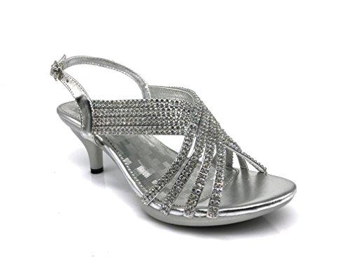 PROMI02 Women's Classic Elegant Low Mid Heels Criss Cross X Strap Rhinestone Wedding Party Platform Open Toe Wedge Shoes (11, Silver)