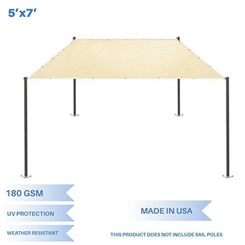 (E&K Sunrise 5' x 7' Sun Shade Sail-Beige Straight Edge Rectangle UV Block Durable Awning Perfect for Canopy Outdoor Garden)