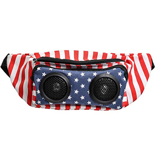 Merchsource Wemco Dual-Speaker Fanny Pack with Audio Jack, American Flag, Battery-Powered Smartphone Holder and Music Amplifier, Perfect for Outdoor Biking