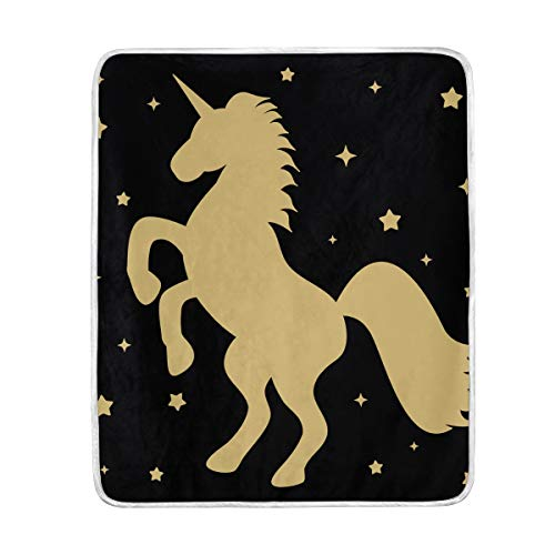 (Unicorn Stars Soft Warm Throw Blankets Lightweight Velvet Short Plush Microfiber Blanket for Bed Couch Chair Sofa Travelling Camping 50'' x 60'')