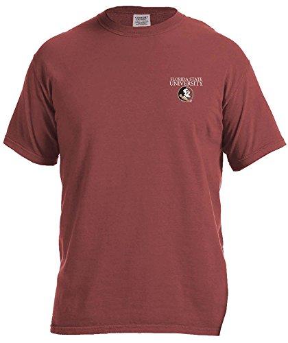 NCAA Florida State Seminoles Simple Circle Comfort Color Short Sleeve T-Shirt, Brick,Large