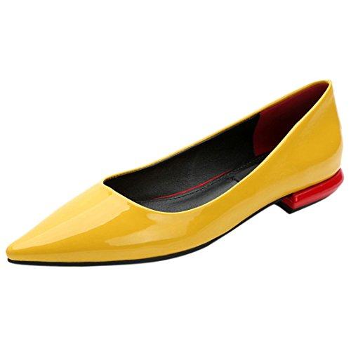 QIYUN.Z Elegante Frauen Sexy Flache Ferseschuhe Süßigkeitfarben-Glanzleder Spitziger Zehe Partei Gelb
