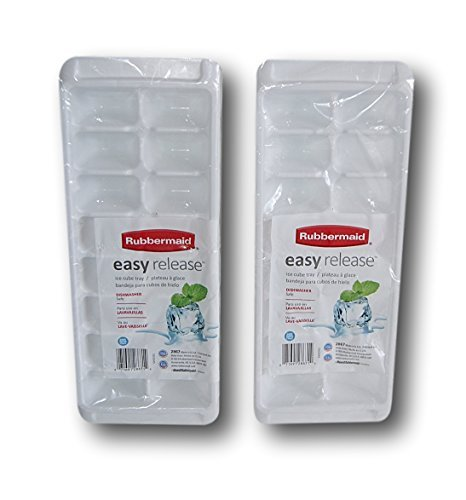 - Rubbermaid Easy Release Ice Cube Tray-White-Set of 2, 12.5'' x 5',