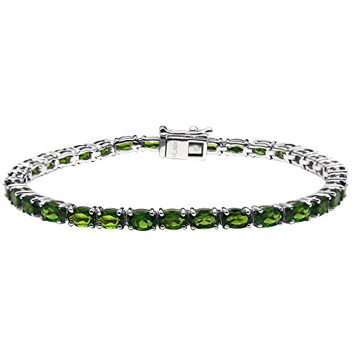 UP LINK Women's Diopside Rhodium Plated Bracelets Green by UP LINK