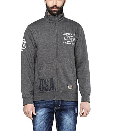 American Crew Men's Solid Full Sleeves Zipper Jacket With Applique