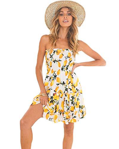 - LOMON Off Shoulder Dress Women's Floral Printed Ruffle Short Dress (White,M)