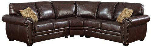 AC Pacific Louis 3-Piece Sectional Includes Right/Left Arm Facing Loveseat and Corner Wedge, Dark Brown