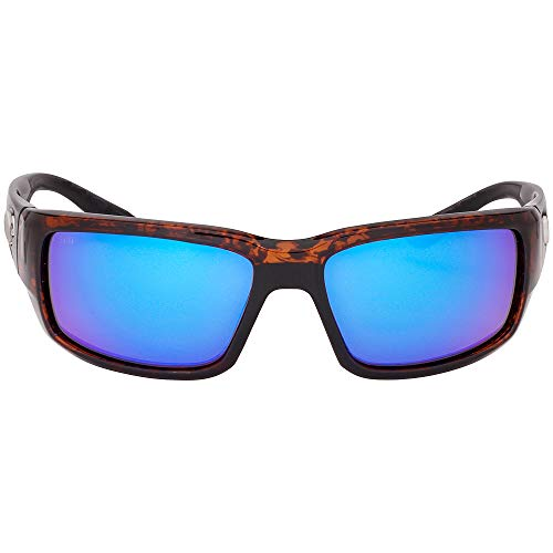 Costa del Mar Men's Fantail Polarized Iridium Rectangular Sunglasses, Tortoise Frame Blue Mirror Glass-W580, 58.9 ()