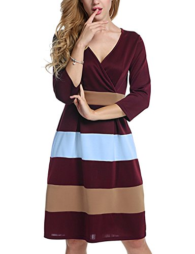 Women's Block Color 3/4 Sleeve Fit-and-Flare Cross V-Neck Dress
