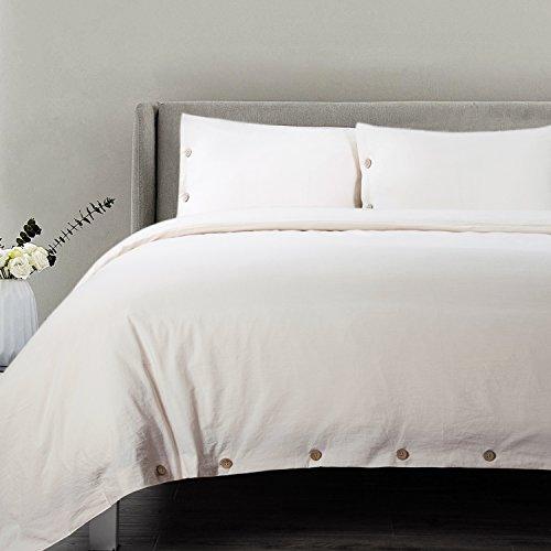 King Duvet Cover Bedding - Bedsure Cotton Duvet Cover King Size Cream Bedding 3 Pieces Duvets Covers Sets 2 Pillow Shams