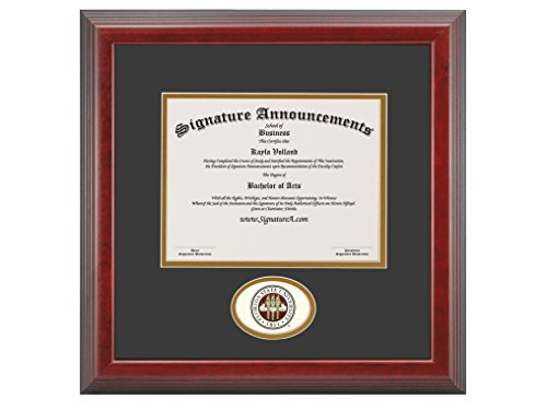 Signature Announcements Florida State University (FSU) Undergraduate and Graduate Graduation Diploma Frame with Sculpted Foil Seal (Cherry, 16 x 16) by Signature Announcements