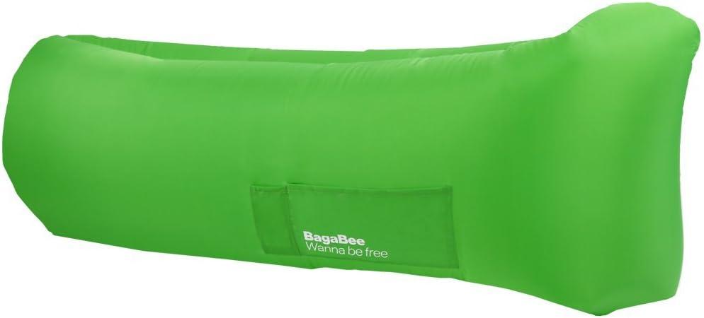 Bagabee Verde Tumbona Inflable, colchón hinchable para playa, montaña , camping , jardín , terraza, piscina