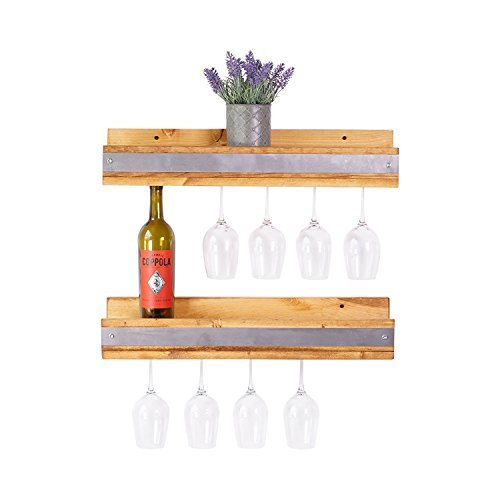 del Hutson Designs Handmade Pine Wood (5H x 24W x 6D) Smuxe Stemware Wine Racks (Set of 2), Industrial ()