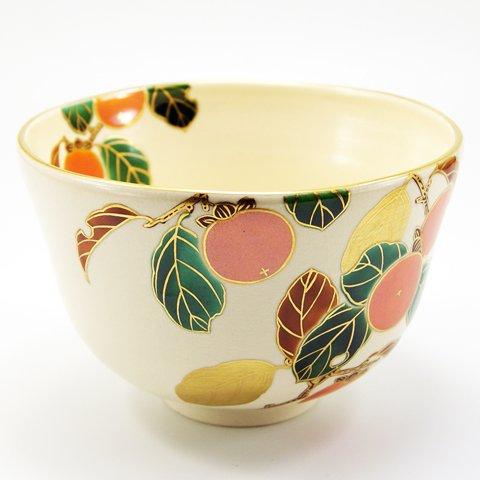 Matcha bowl overglaze enamels persimmon autumn by Minoru Park (Image #3)