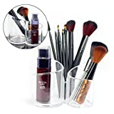 Best Ace Makeup Tools - Acrylic Makeup Brush Holder, Multi-Purpose 3 Compartment Cosmetic Review